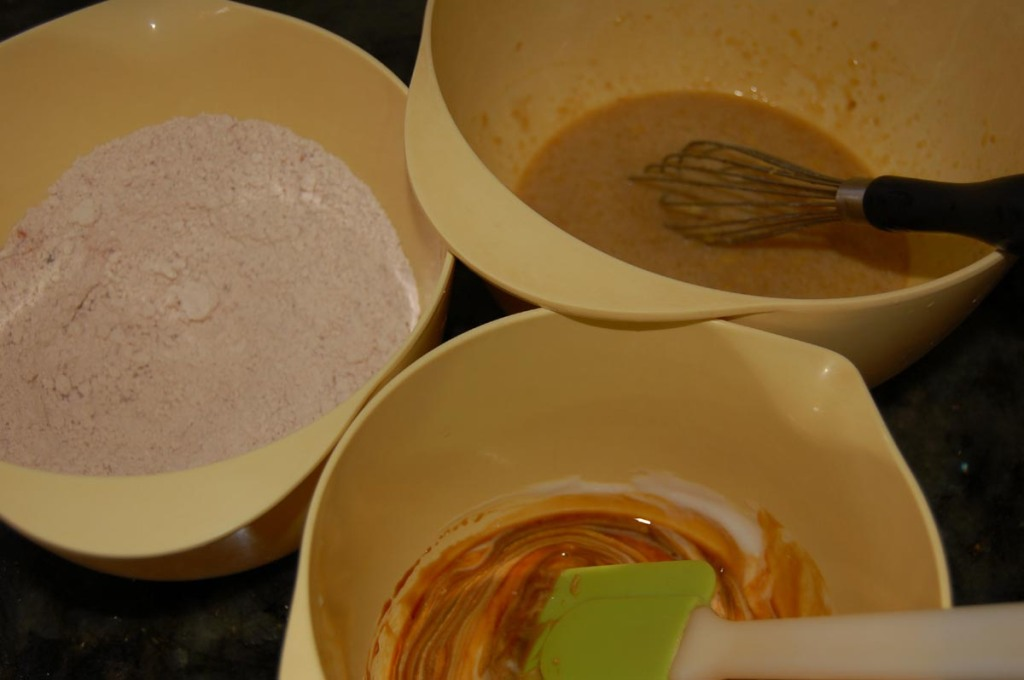 pear gingerbread mixing batter