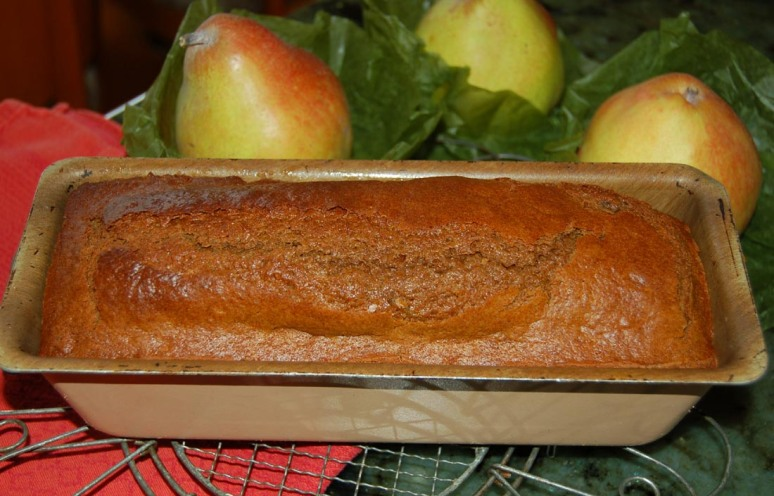 pear gingerbread out of oven